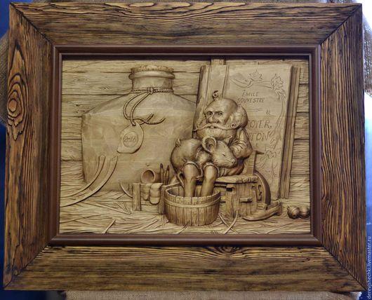 Фантазийные сюжеты ручной работы. Ярмарка Мастеров - ручная работа. Купить Домовой. Handmade. Коричневый, у камина, дерево липав
