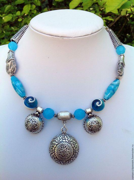 Комплект украшений из натуральных материалов в восточном стиле Морской бриз. Оригинальный подарок для стильных, неординарных женщин и девушек. Винтажный , антикварный стиль.