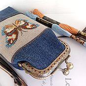 handmade. Livemaster - original item Glasses case denim with clasp cross stitch. Handmade.