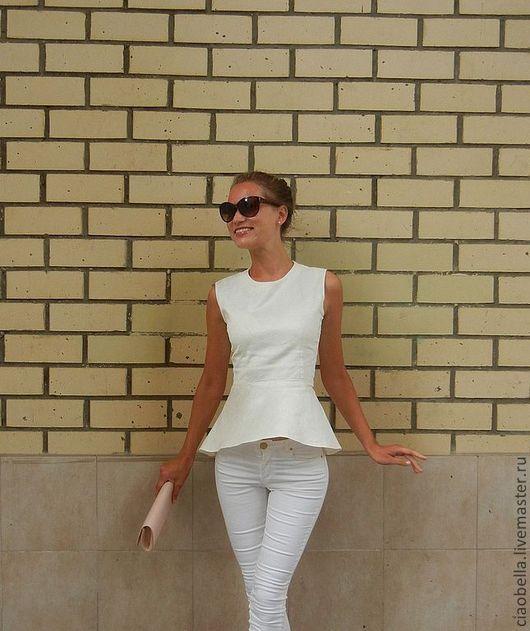 """Блузки ручной работы. Ярмарка Мастеров - ручная работа. Купить Блузочка с баской """"Bella"""". Handmade. Белый, летняя блузка"""