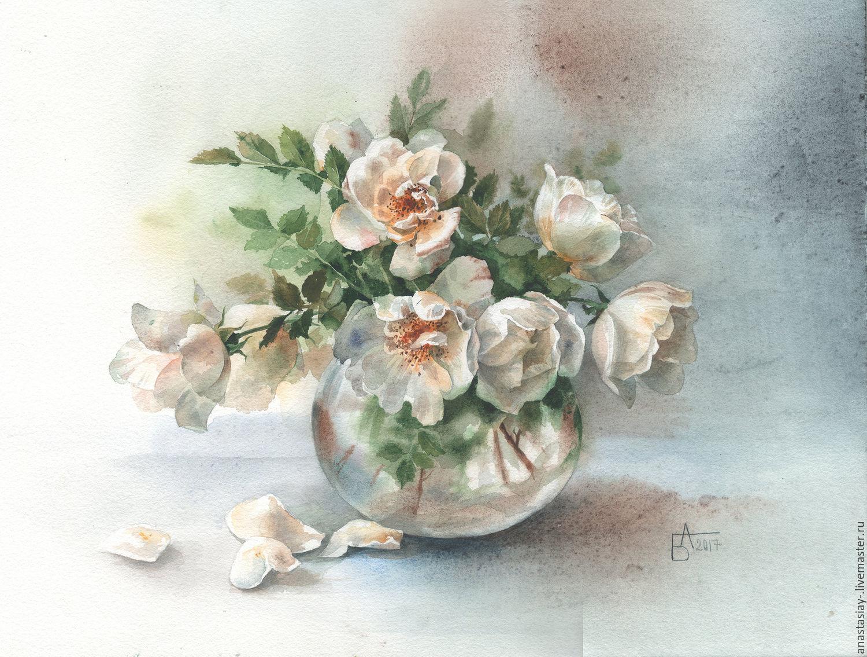 Белые розы, Картины цветов, Москва, Фото №1
