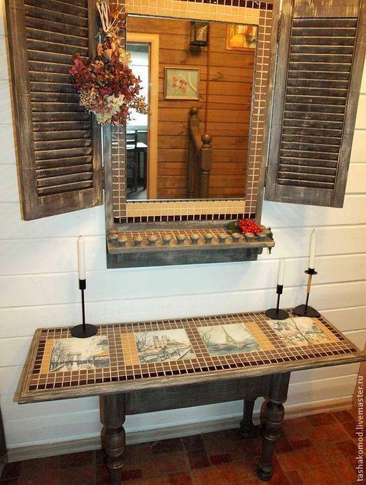 """Мебель ручной работы. Ярмарка Мастеров - ручная работа. Купить Консоль и зеркало со ставнями """"Гуляя по Парижу..."""" (комплект). Handmade."""