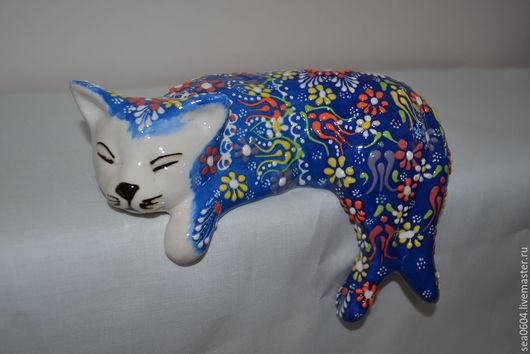 Статуэтки ручной работы. Ярмарка Мастеров - ручная работа. Купить Статуэтка кошка синяя. Handmade. Синий, фигурка, статуэтки, изникская
