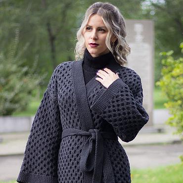 Одежда ручной работы. Ярмарка Мастеров - ручная работа Сумерки- вязаное пальто из хлопка, купить летнее пальто, кардиган. Handmade.