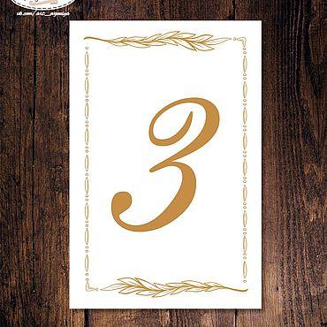 """Свадебный салон ручной работы. Ярмарка Мастеров - ручная работа Номер стола """"Цветочное золото"""". Handmade."""
