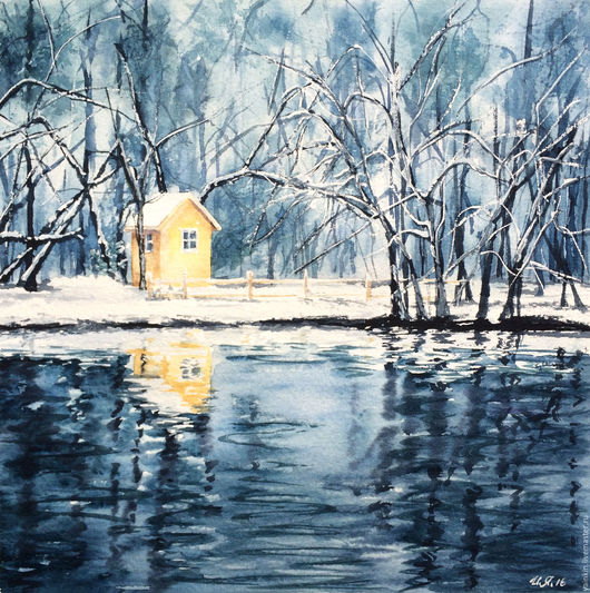 """Пейзаж ручной работы. Ярмарка Мастеров - ручная работа. Купить """"Зимний лес"""" диптих, акварель. Handmade. Голубой, купить триптих"""