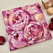 Картины и панно handmade. Livemaster - original item Oil painting on canvas 20/20 Peony message. Painting with peonies. Handmade.
