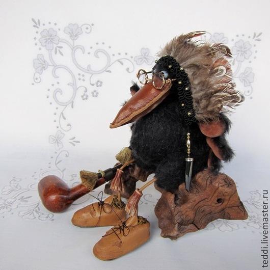 """Мишки Тедди ручной работы. Ярмарка Мастеров - ручная работа. Купить вождь""""Орлиный Глаз"""". Handmade. Черный, птица, мудрый ворон"""