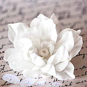 Украшения ручной работы. Ярмарка Мастеров - ручная работа 71411_Цветок-заколка для волос, Белый цветок в волосы, Цветок брошь.. Handmade.
