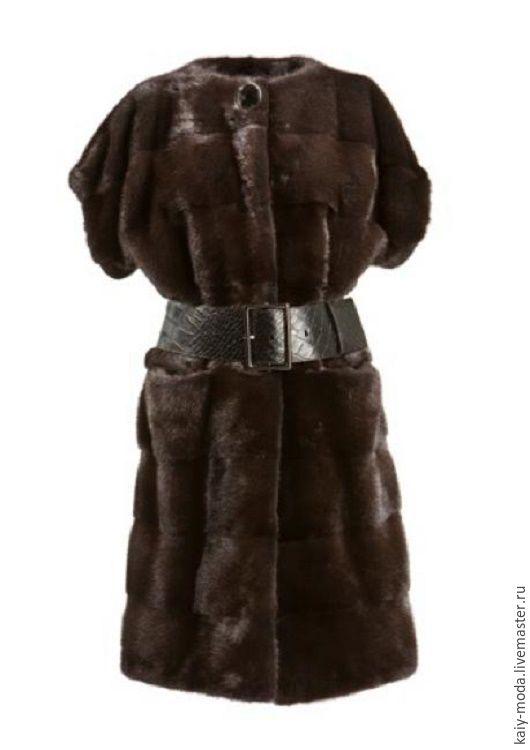 Верхняя одежда ручной работы. Ярмарка Мастеров - ручная работа. Купить Меховой жилет-кардиган из норки. Handmade. Коричневый