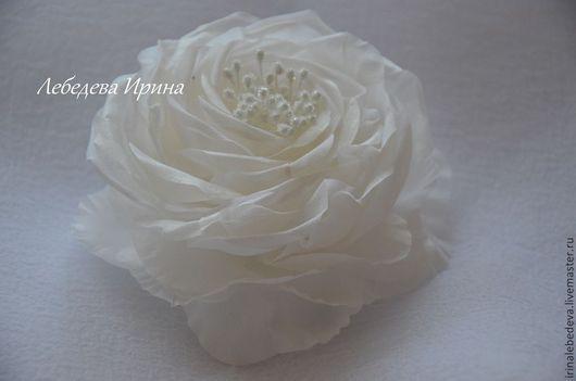 Заколки ручной работы. Ярмарка Мастеров - ручная работа. Купить Цветы из шелка. Роза в прическу. Handmade. Белый, роза из ткани