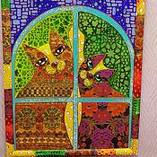 """Картины и панно ручной работы. Ярмарка Мастеров - ручная работа Декоративное панно """"Два кота"""". Handmade."""