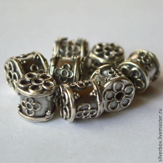 """Бусина Бали""""Боченок с цветочком"""" серебро 925 пробы.\r\nДля Украшений Нина(SilverBox)"""