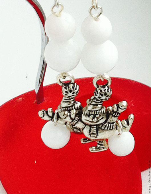 Серьги ручной работы. Ярмарка Мастеров - ручная работа. Купить Новогодние серьги/клипсы !Кому снеговика!. Handmade. Белый, снеговики