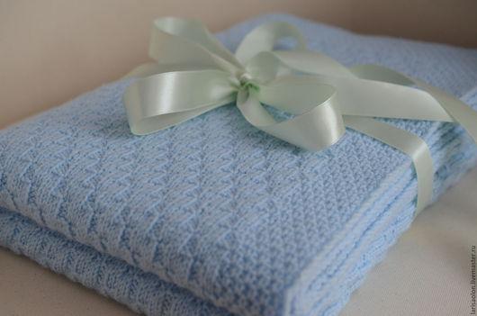 Текстиль, ковры ручной работы. Ярмарка Мастеров - ручная работа. Купить Голубой детский плед. Handmade. Голубой, подарок на новый год