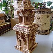 Подарки к праздникам handmade. Livemaster - original item Tower of birch bark. Wooden house. bottle cover. Home decor. Handmade.