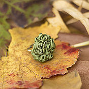 Украшения ручной работы. Ярмарка Мастеров - ручная работа Кольцо из ткани оливково-зеленое. Handmade.