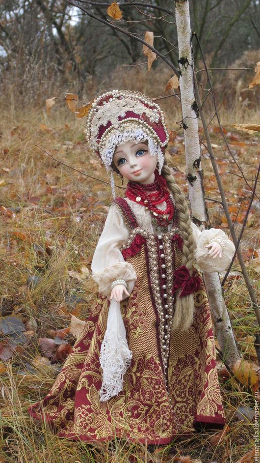 Коллекционные куклы ручной работы. Ярмарка Мастеров - ручная работа. Купить Варвара-краса, длинная коса)). Handmade. Бордовый, Ладолл