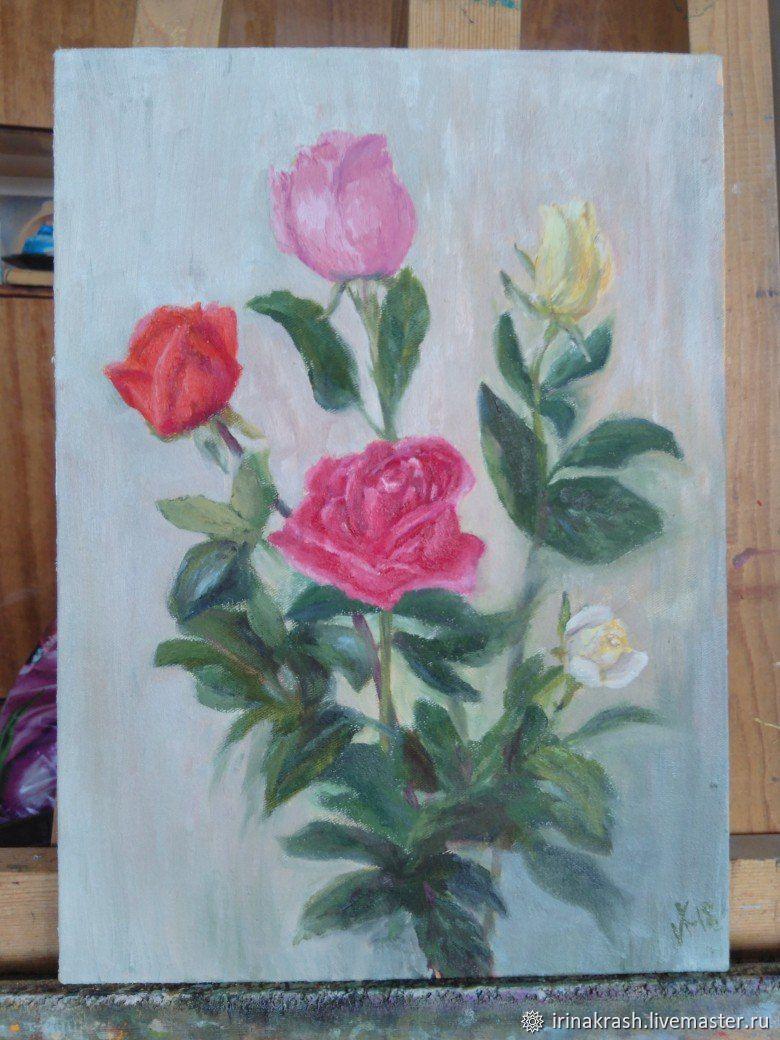 """Картина маслом """"Такие разные розы"""", Картины, Златоуст,  Фото №1"""
