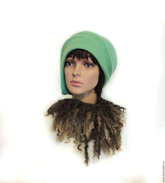 """Шапки ручной работы. Ярмарка Мастеров - ручная работа. Купить Авторская шляпка  """"Каскад"""" - войлок. Handmade. Мятный, шляпка женская"""