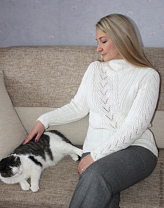 """Кофты и свитера ручной работы. Ярмарка Мастеров - ручная работа. Купить Вязаный пуловер """"Февраль"""". Handmade. Ажур, белый свитерок"""