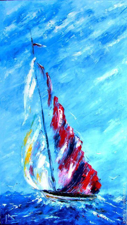 Пейзаж ручной работы. Ярмарка Мастеров - ручная работа. Купить Парус. Handmade. Синий, картина в подарок, картина маслом, море