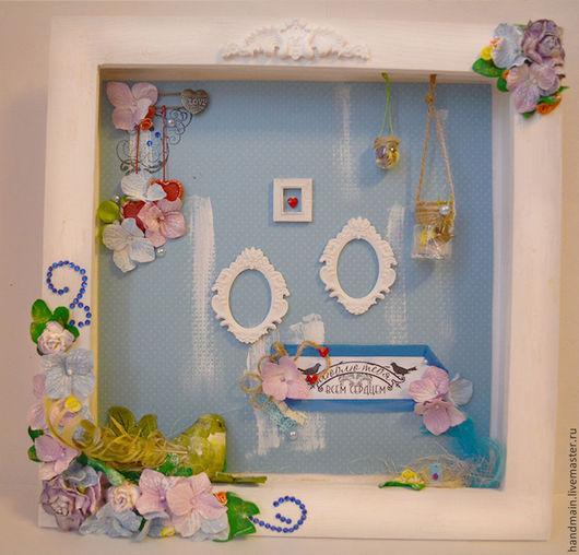 Персональные подарки ручной работы. Ярмарка Мастеров - ручная работа. Купить Рамка для фотографии. Handmade. Разноцветный, сердце, птичка
