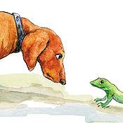 Картины и панно handmade. Livemaster - original item Dog Dachshund and lizard Postcard. Handmade.