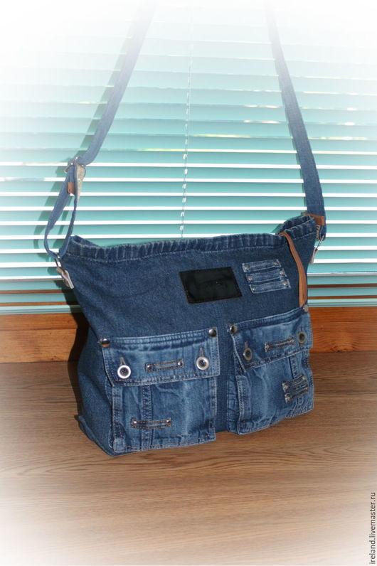 Женские сумки ручной работы. Ярмарка Мастеров - ручная работа. Купить Джинсовая сумка через плечо 15. Handmade. Синий