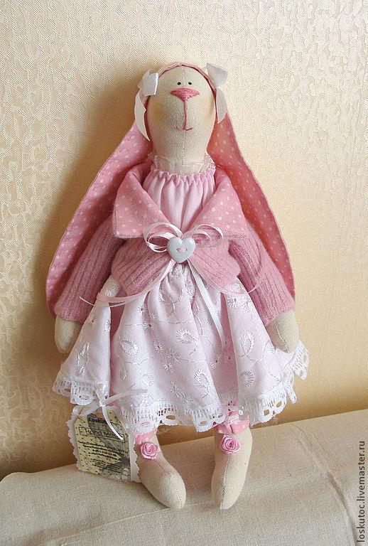 Куклы Тильды ручной работы. Ярмарка Мастеров - ручная работа. Купить ЗАИНЬКА. Handmade. Розовый, тильда игрушка, атласные ленты