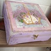 Для дома и интерьера handmade. Livemaster - original item Tea box Basket with lilac. Handmade.