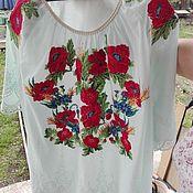 """Блузки ручной работы. Ярмарка Мастеров - ручная работа Блуза с вышивкой """"Маки"""" на шитье. Handmade."""