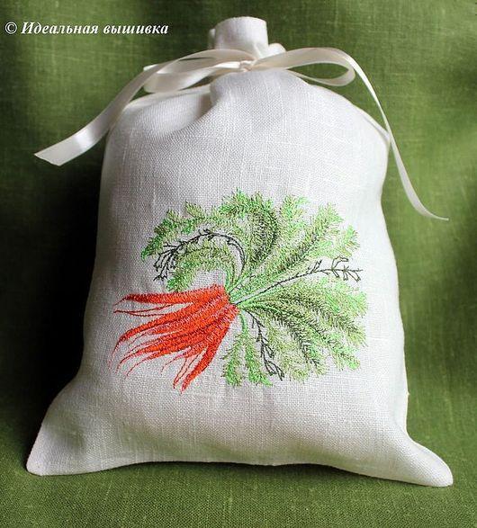 """Кухня ручной работы. Ярмарка Мастеров - ручная работа. Купить Льняной мешочек """"Морковка"""". Handmade. Ярко-зелёный, кухонный травы"""