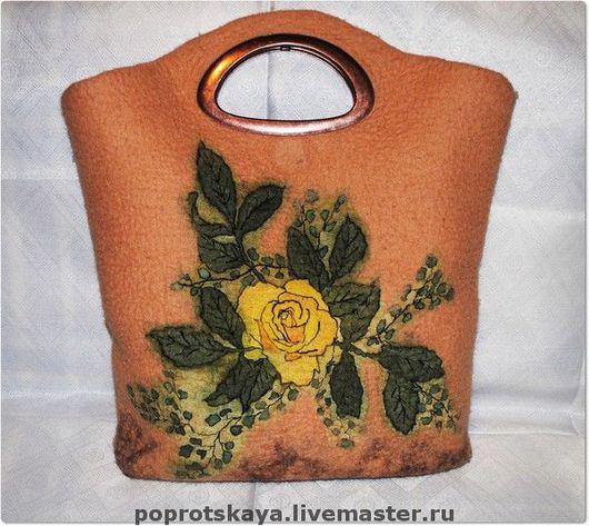 Женские сумки ручной работы. Ярмарка Мастеров - ручная работа. Купить Сумка Желтая роза. Handmade. Сумка валяная