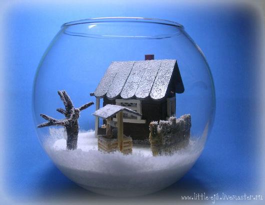 """Миниатюра ручной работы. Ярмарка Мастеров - ручная работа. Купить миниатюра в вазе """"Зимний дворик"""". Handmade. Белый, вазочка, Снег"""