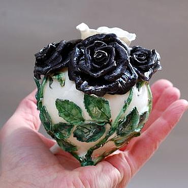 """Для дома и интерьера ручной работы. Ярмарка Мастеров - ручная работа """"Чёрные розы"""".Вазочка фарфоровая. Handmade."""
