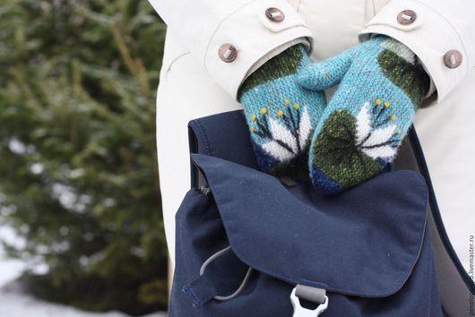 Варежки, митенки, перчатки ручной работы. Ярмарка Мастеров - ручная работа. Купить рукавички Кувшинки. Handmade. Комбинированный, стильный аксессуар