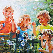 Картины ручной работы. Ярмарка Мастеров - ручная работа Хорошо летом на даче! Мыльные пузыри. Handmade.