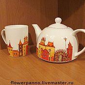 """Посуда ручной работы. Ярмарка Мастеров - ручная работа Чашка и чайник """"Амстердам"""". Handmade."""