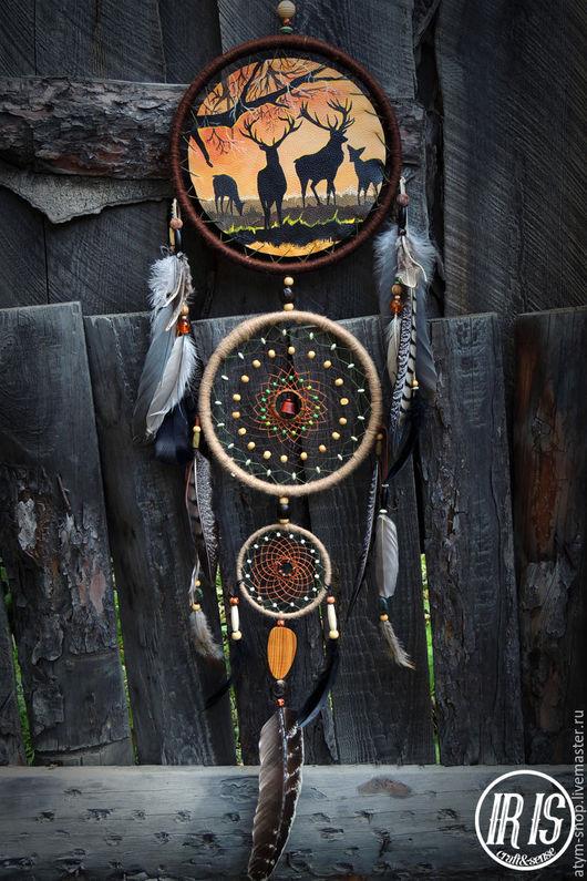 Ловцы снов ручной работы. Ярмарка Мастеров - ручная работа. Купить Ловец снов с росписью Олени, ловец снов с рисунком, ловец снов олени. Handmade.