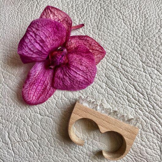 Кольца ручной работы. Ярмарка Мастеров - ручная работа. Купить Деревянное кольцо с горным хрусталём. Handmade. Кольцо, необычное украшение