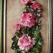 Картины ручной работы. Ярмарка Мастеров - ручная работа Картины: Картина вышивка лентами Ветка розы. Handmade.