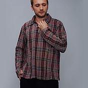 Одежда ручной работы. Ярмарка Мастеров - ручная работа Мужская Рубашка  из тонкой хлопковой фланели в темных тонах. Handmade.