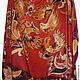 Красный шелковый платок, платок батик купить батик платок, платок с росписью, роспись под хохлому, платок с птицами, жар-птицы