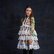 Одежда ручной работы. Ярмарка Мастеров - ручная работа Цветочное кружевное нарядное платье до колен. Handmade.