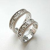 handmade. Livemaster - original item Paired wedding rings with patterns, silver (Ob54). Handmade.
