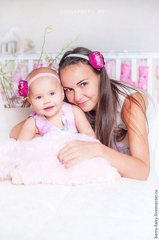 Детская бижутерия ручной работы. Ярмарка Мастеров - ручная работа. Купить Повязка для волос с розовым цветком. Handmade. Розовый