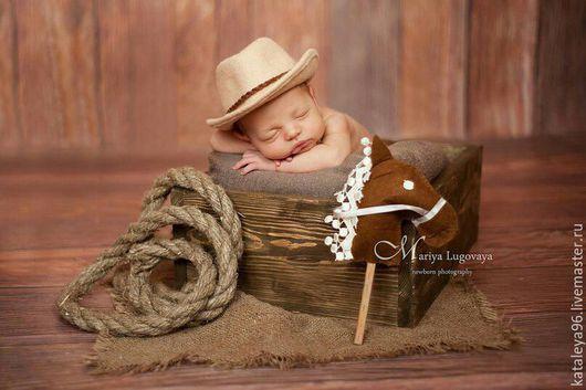 Для новорожденных, ручной работы. Ярмарка Мастеров - ручная работа. Купить Ковбойская шляпа. Handmade. Бежевый, реквизит, аксессуары