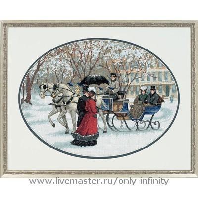 Город ручной работы. Ярмарка Мастеров - ручная работа. Купить Зимние впечатления. Handmade. Старинный стиль, люди, ручная работа