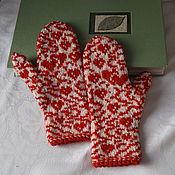 Аксессуары ручной работы. Ярмарка Мастеров - ручная работа варежки Валентинки. Handmade.